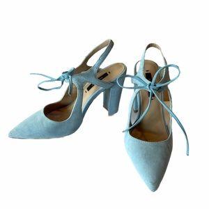 Zara baby blue suede chunky heels